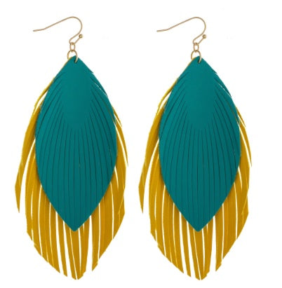 Large Double Faux Leather Feather Drop Earrings