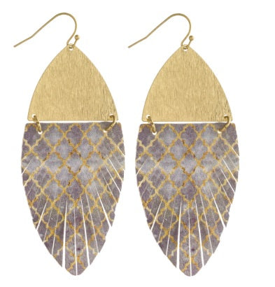 Faux Leather Feather Inspired Geometric Earrings