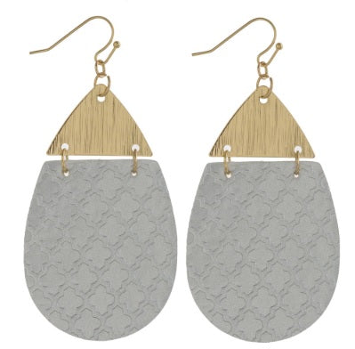 Metallic Faux Leather Geometric Teardrop Earrings