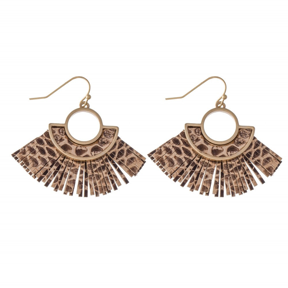 Faux Leather Animal Print Tassel Drop Earrings.