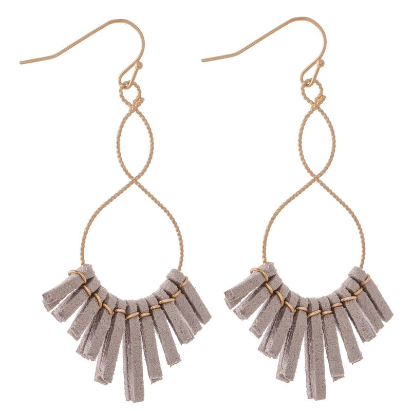 Twisted Textured Loopy Faux Leather Tassel Drop Earrings