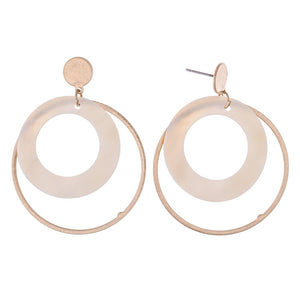 Mother of Pearl Ring Nested Drop Earrings in Gold