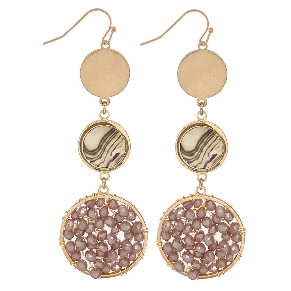 Beaded Drop Earrings Featuring Abalone Accent in Gold.