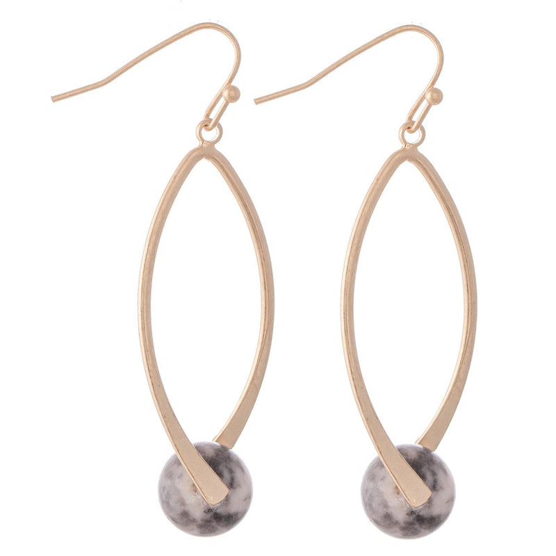 Semi Precious Ball Drop Earrings