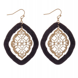 Nested Filigree Moroccan Cork Drop Earrings in Gold.
