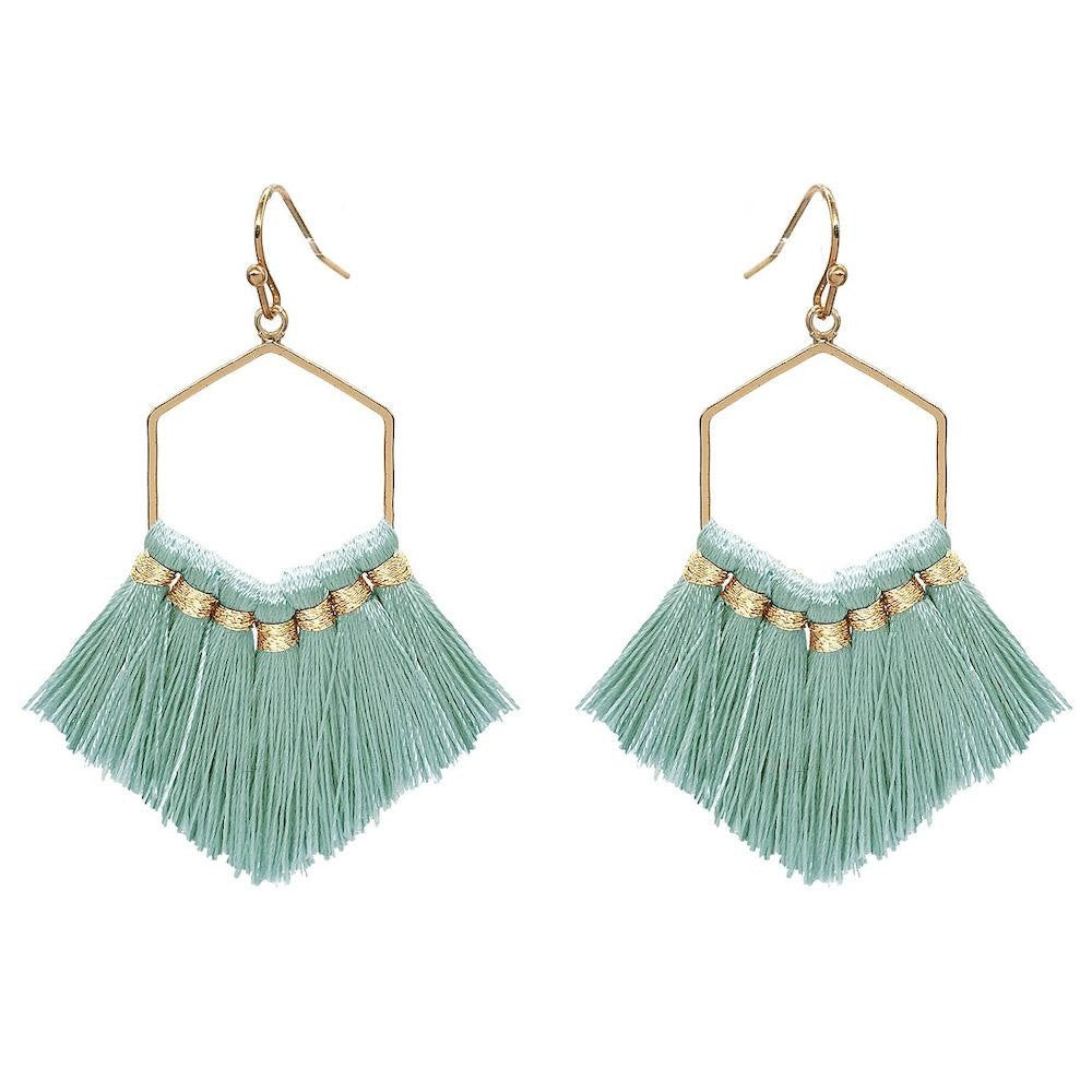 Fringe Tassel Hexagon Drop Earrings in Gold.