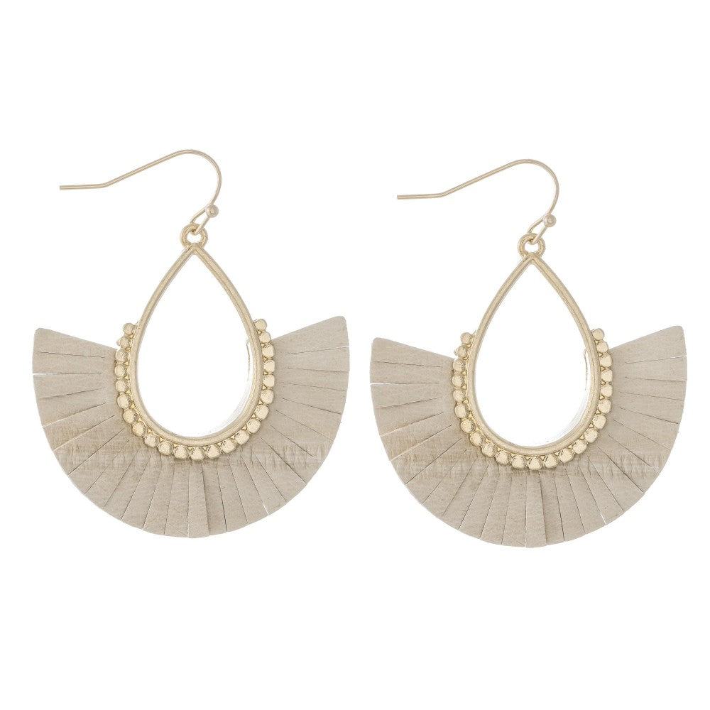 Faux Leather Tassel Teardrop Earrings in Gold.