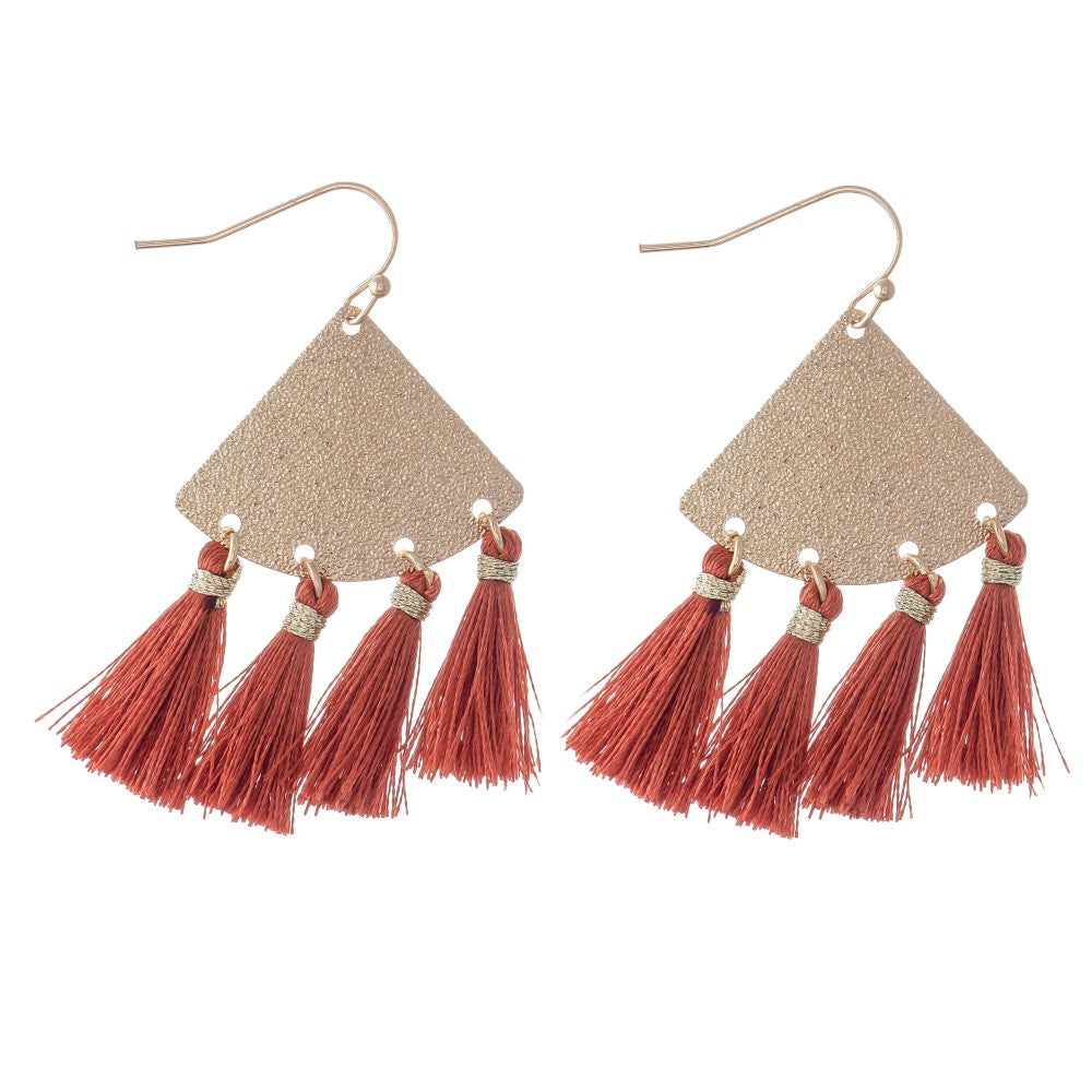 Metallic Shimmer Triangle Tassel Earrings in Gold.
