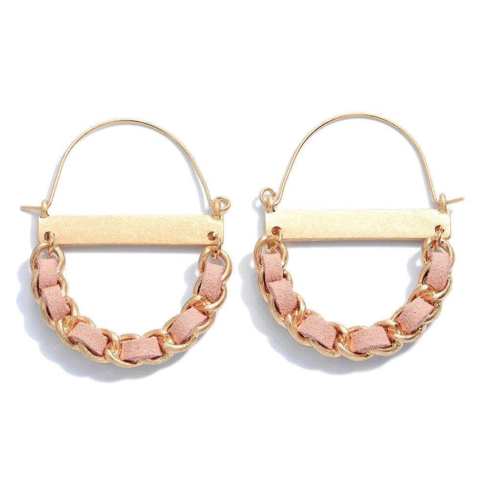 Faux Leather Woven Chain Link Hoop Earrings.