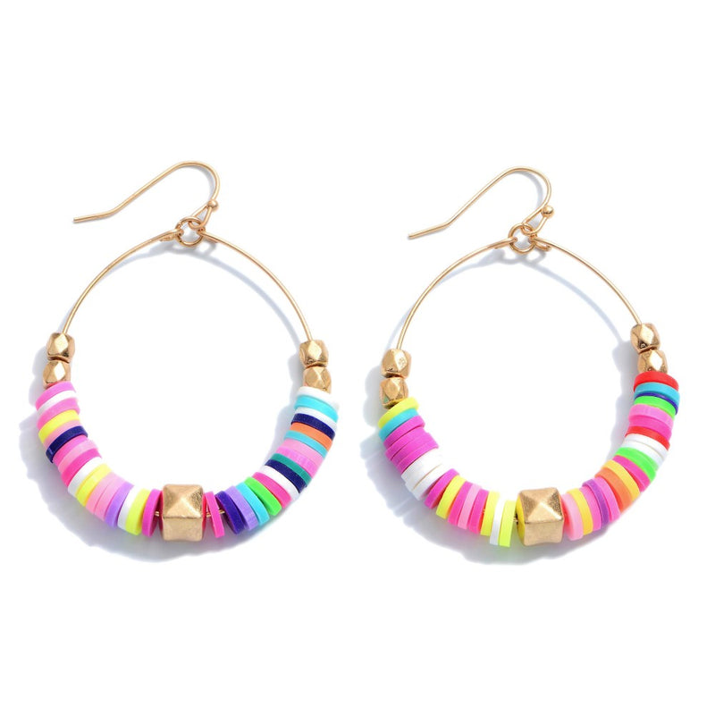 Rubber Spacer Beaded Drop Earrings Featuring Gold Accents