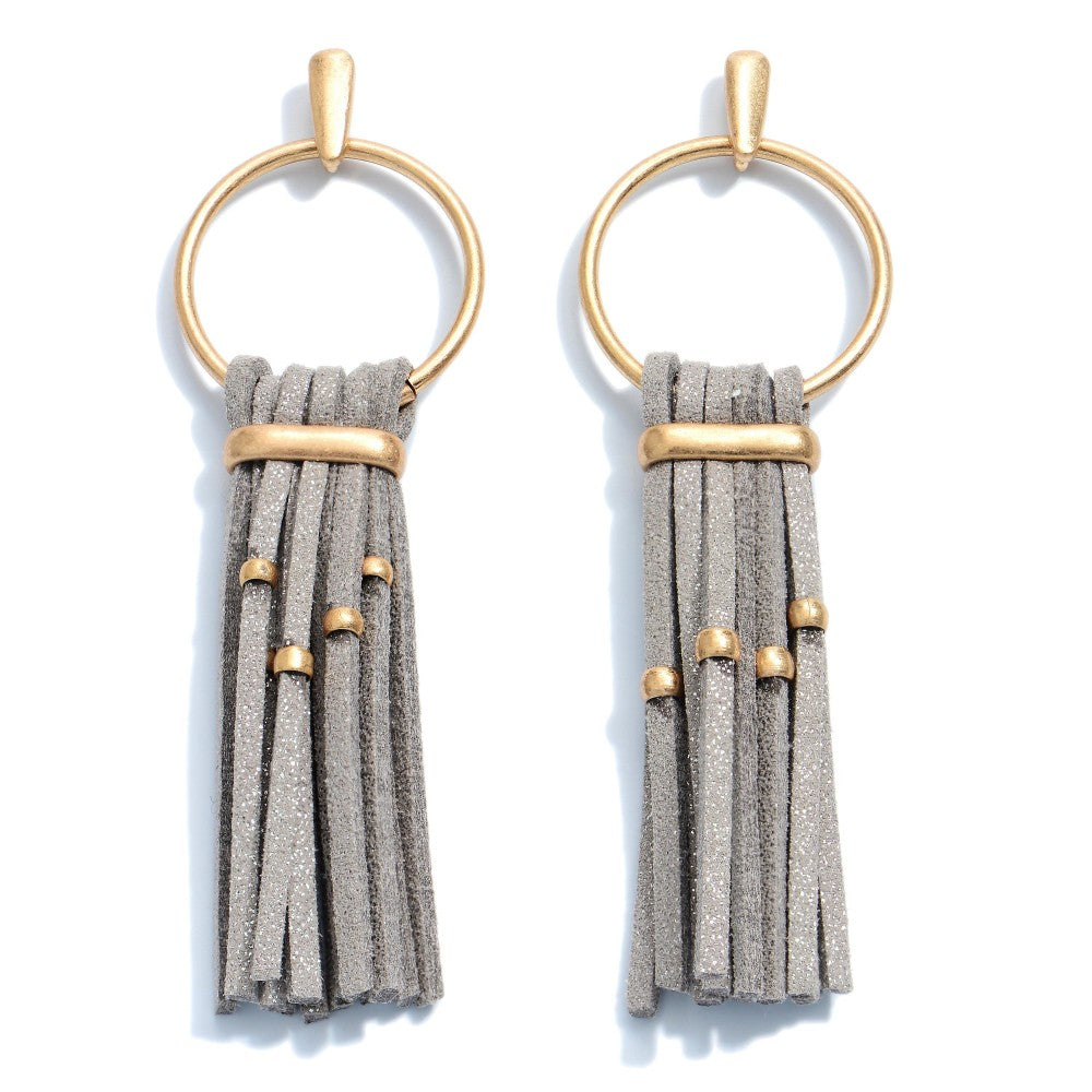 Faux Leather Tassel Drop Earrings in Gold.