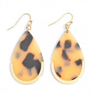 Acrylic Teardrop Earring Featuring a Gold Metal Accent
