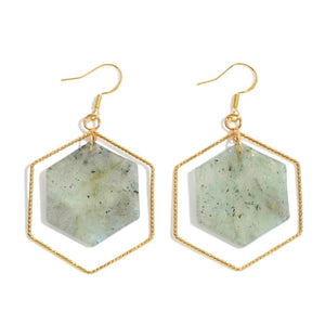 Natural Stone Hexagon Nested Drop Earrings in Gold