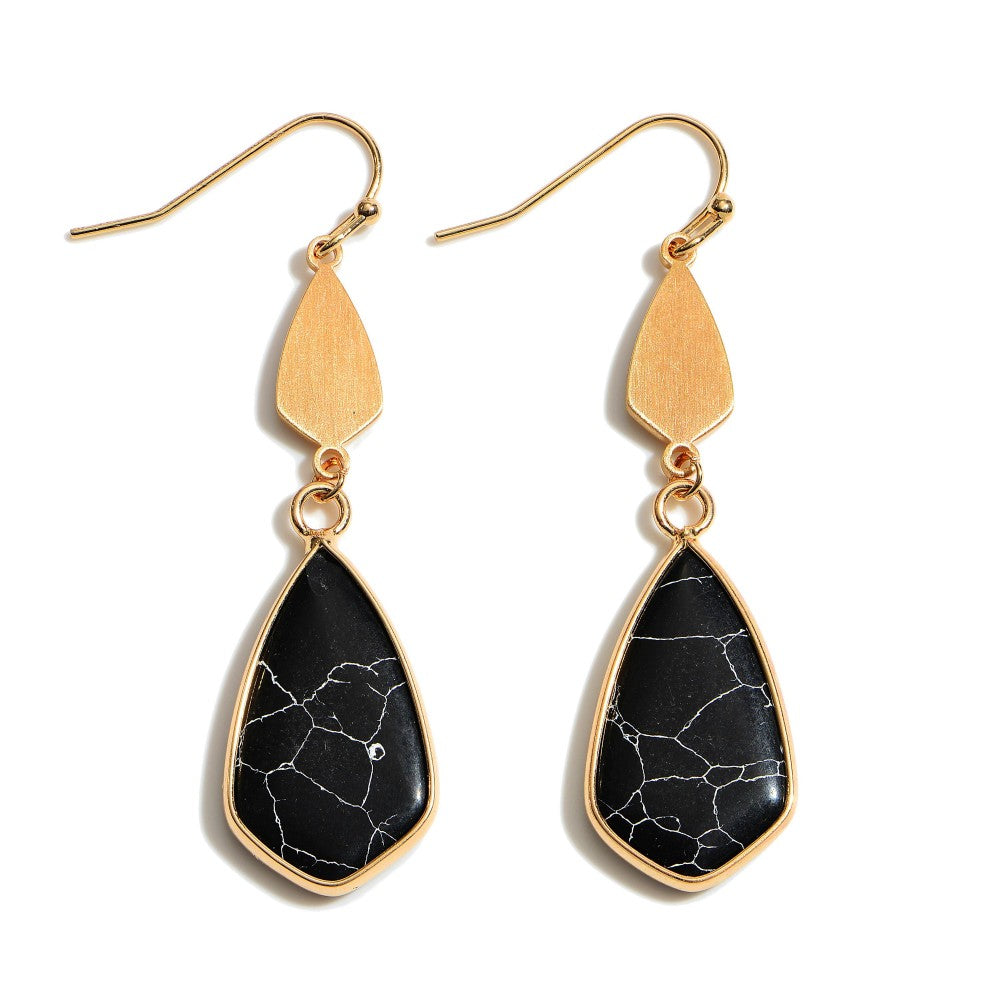Semi Precious Moroccan Teardrop Earrings in Gold.