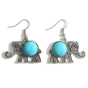 Elephant Shaped Engraved Drop Earrings Featuring Turquoise Accents