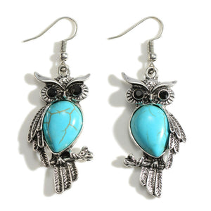 Owl Themed Silver Drop Earrings Featuring Black Onyx & Turquoise Inspired Accents