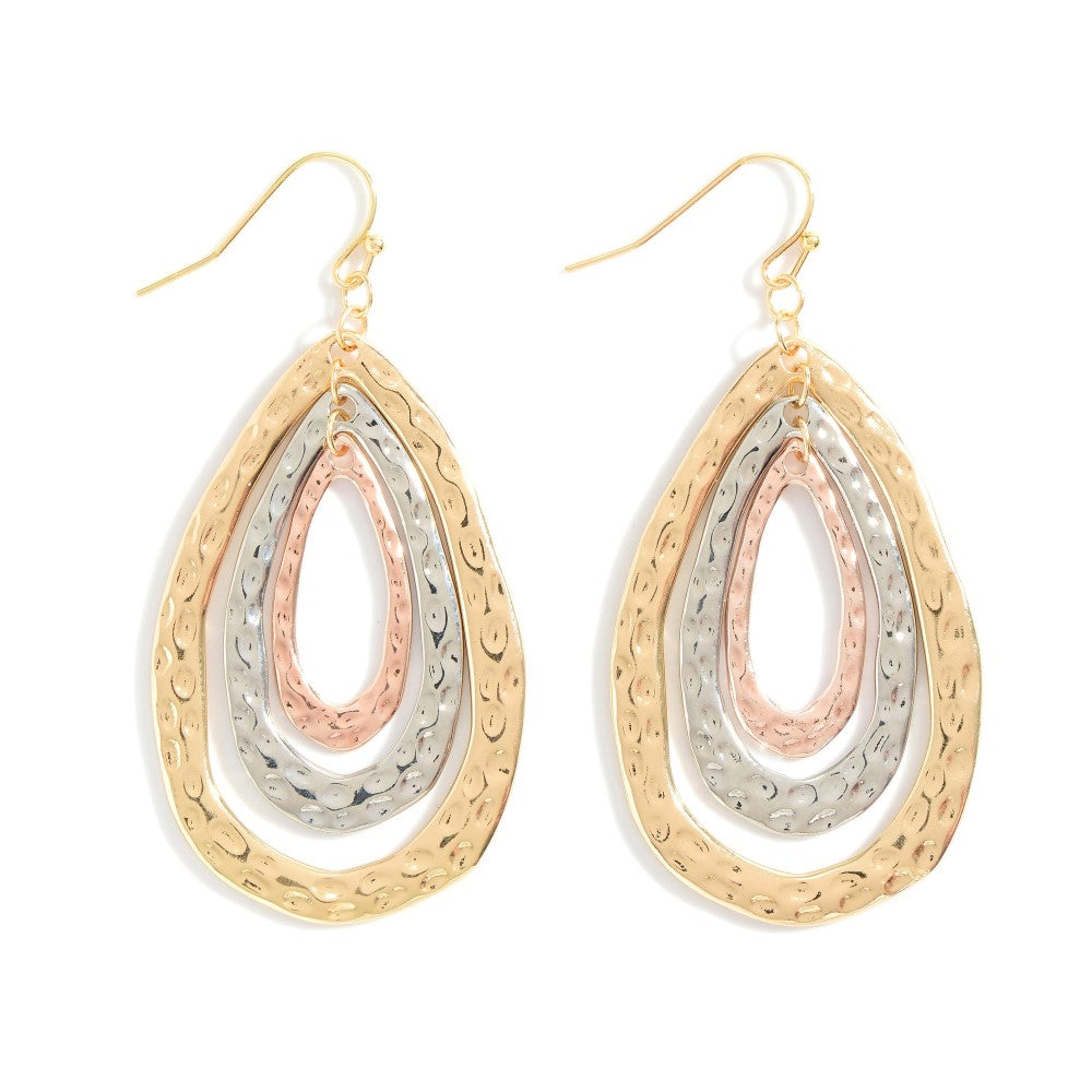 Metal Tear Drop Earrings Featuring Hammered Texture.