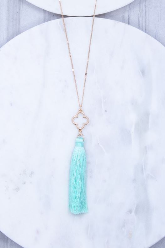 Clover and Tassel Pendant Necklace