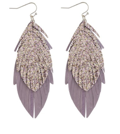 Double Layered Genuine Leather Feather inspired Earrings