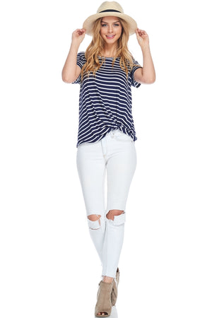 Front Knot Detail Short Sleeve Striped Top