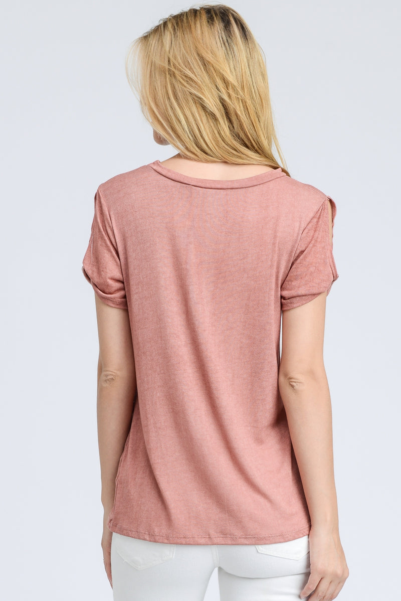 Twisted Sleeve Dirty Washed Fabric Top