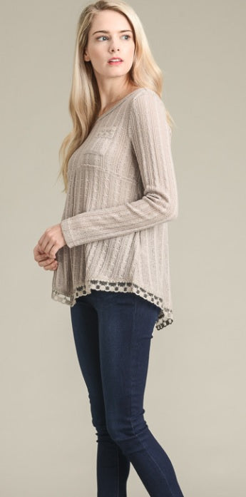 Long Sleeve Lace Trim Open Knit Sweater Top