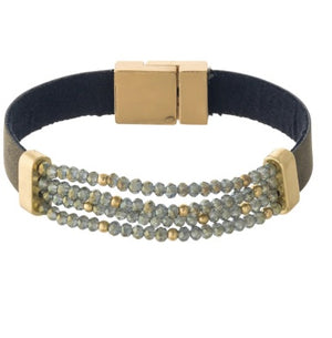 Faux Leather Stretch Beaded Bracelet