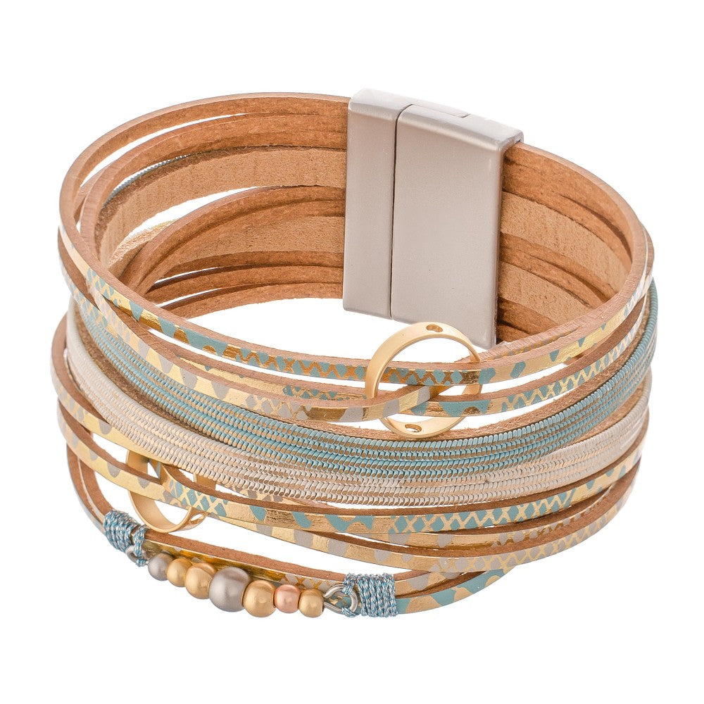 Metallic Geometric Print Faux Leather Multi-Strand Magnetic Bracelet with Metal Accents.