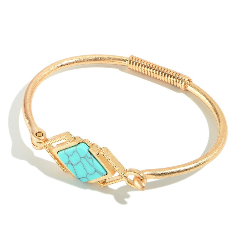 Springy Semi Precious Bangle Bracelet in Gold