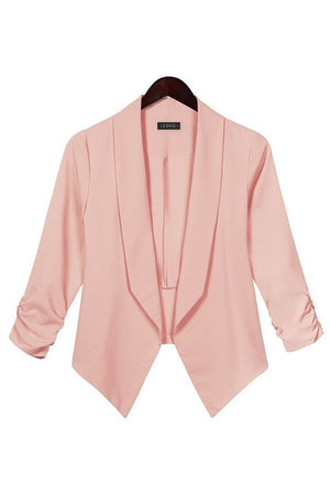 Womens Open Front Cinched 3/4 Sleeve Solid Blazer Jacket