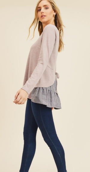 Long Sleeve Knit Top With Contrast Tiered Back Details