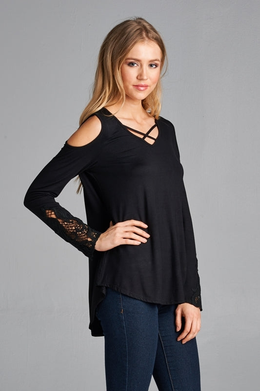 Long Sleeve Cold Shoulder w/Lace