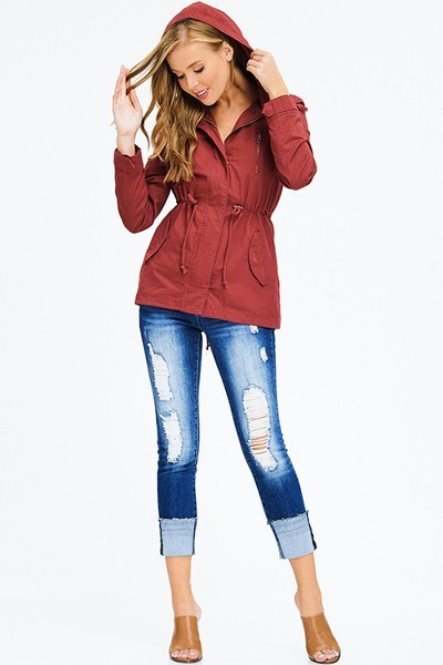 Rust Red Cotton Zip-up Hooded Jacket
