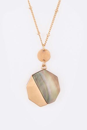 Abalone Mix Metal Pendant Layer Necklace Set