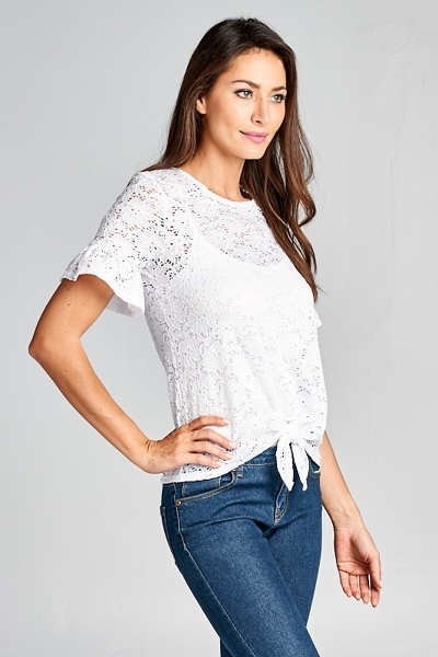 Crochet Lace Front Tie Blouse with Flutter Sleeves