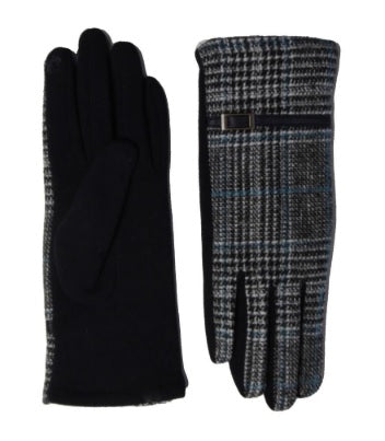 Plaid Print Gloves with Fur Lined Details