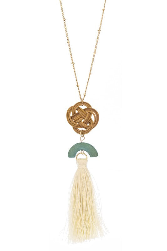 Turquoise Wood Neutral Tassel Necklace