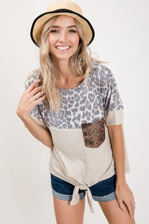 Animal Print Tie Front Top