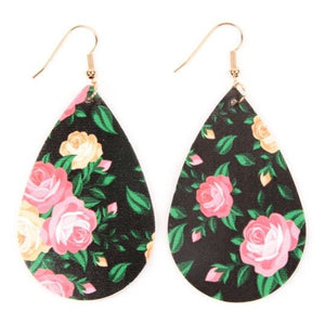 Floral Print Tear Drop Earring