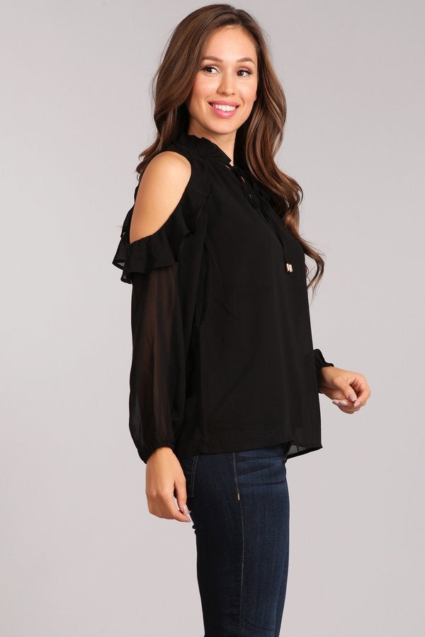 Long Sleeve Cold Shoulder Top w/keyhole Tie Closure