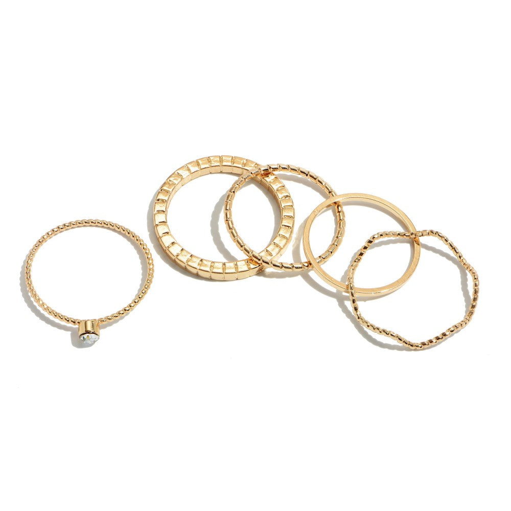 5 PC Simple Knuckle Band Ring Set in Gold