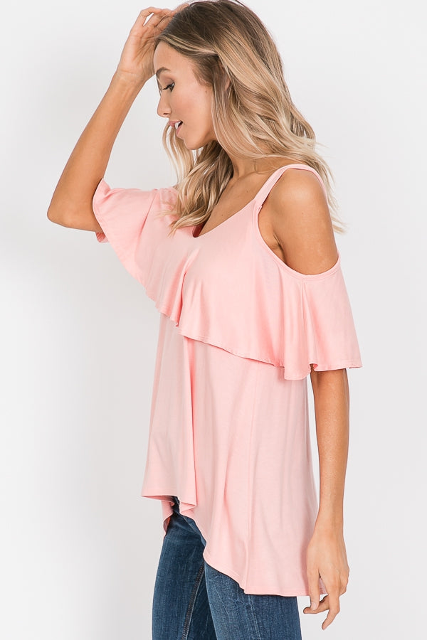 High Low Ruffled Cold Shoulder Top