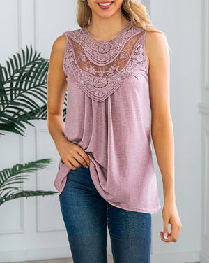 Lace Sleeveless Round Neck Top