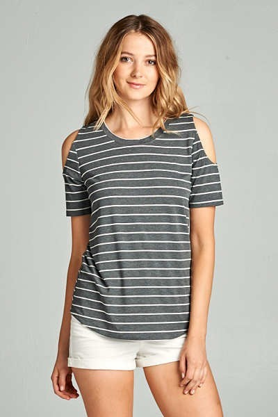 Striped Knit Cold Shoulder Short Sleeved Top