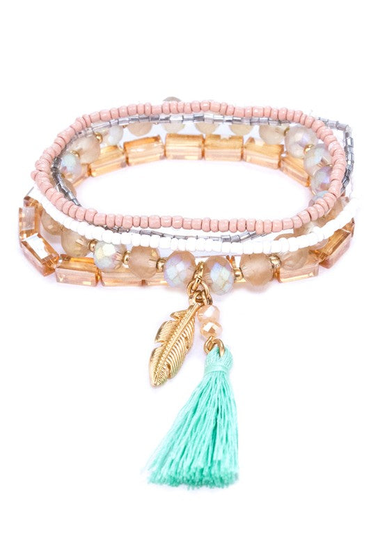 Crystal Beads With Father Shape Metal And Tassel Bracelet