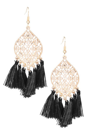 Oval Shape Metal With Tassel Earrings