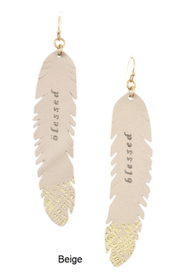 Thin Leaf Blessed Accent Earring