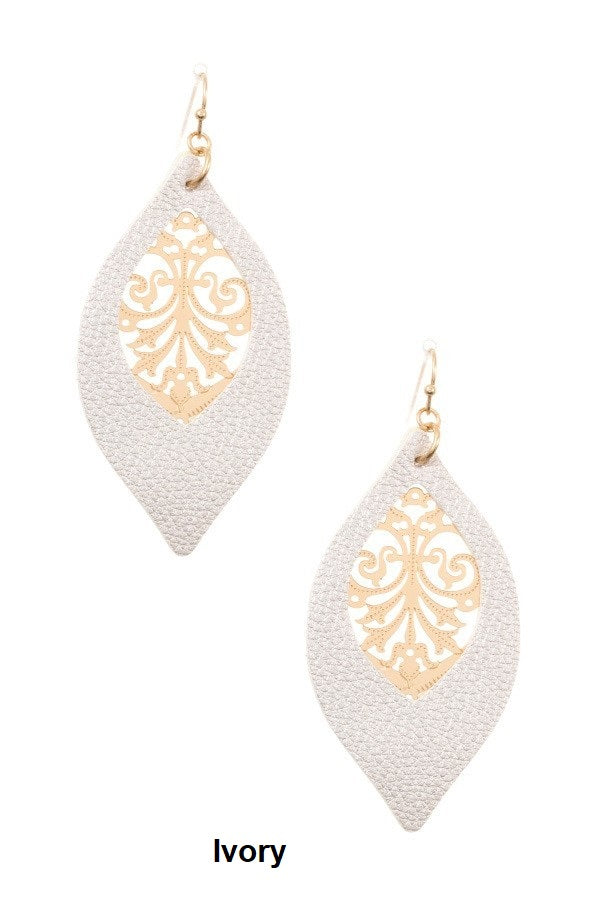 Faux Leather Filigree Marquise Dangle Earring