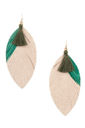 Two Tone Fringe Leaf Tassel Earring