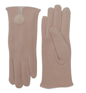 Soft Solid Touch Screen Gloves with Rabbit Pom